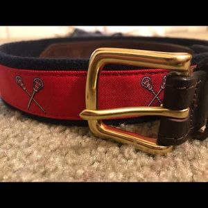 Vineyard Vines Boys lacrosse brown leather belt